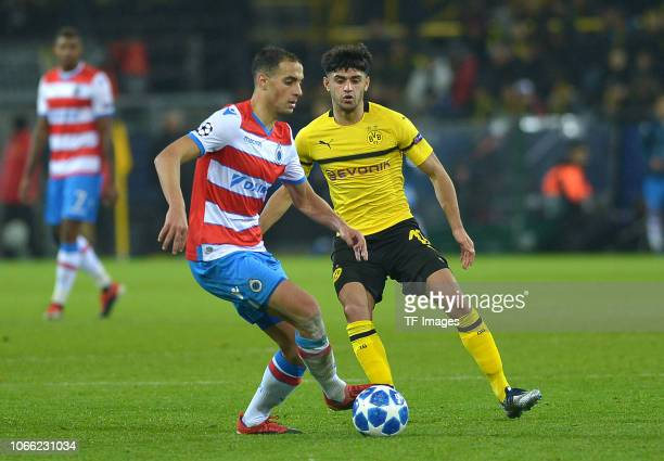 Sofyan Amrabat of Bruegge and Mahmoud Dahoud of Dortmund battle for the ball during the Group A match of the UEFA Champions League between Borussia...