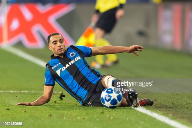 Sofyan Amrabat of Club Bruegge controls the ball during the UEFA Champions League Group A match between Club Brugge and Club Atletico de Madrid at...