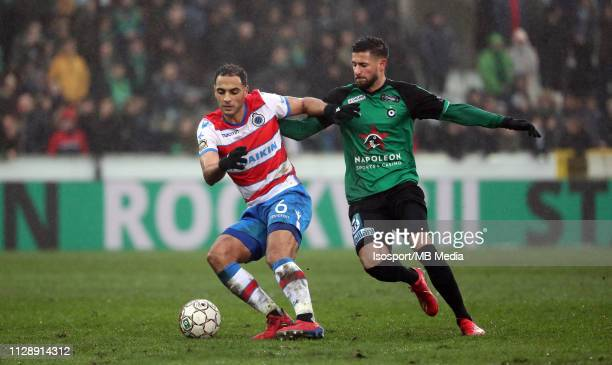Sofyan Amrabat of Club Brugge and Dylan De Belder of Cercle fight for the ball during the Jupiler Pro League match between Cercle Brugge KSV and Club...