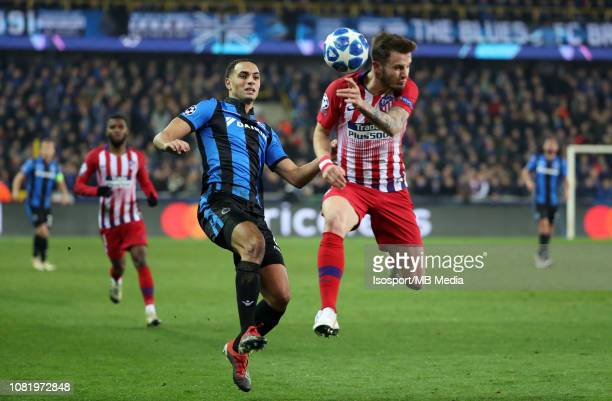 Sofyan Amrabat of Club Brugge and Saul Niguez of Atletico fight for the ball during the UEFA Champions League Group A match between Club Brugge and...