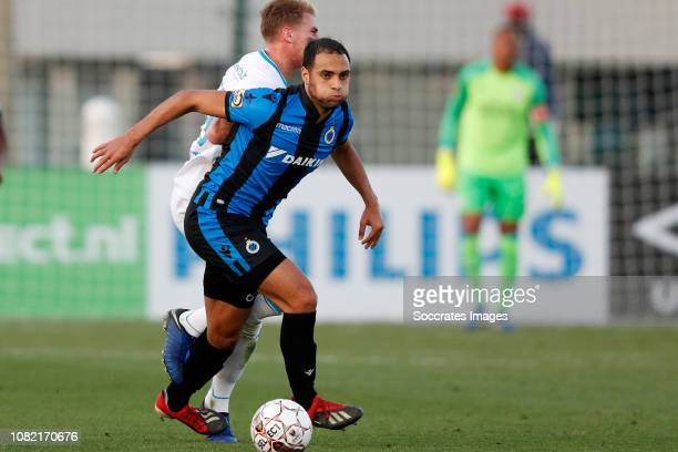 Sofyan Amrabat of Club Brugge Matthias Verreth of PSV during the Club Friendly match between PSV v Club Brugge on January 11 2019 in Doha Qatar
