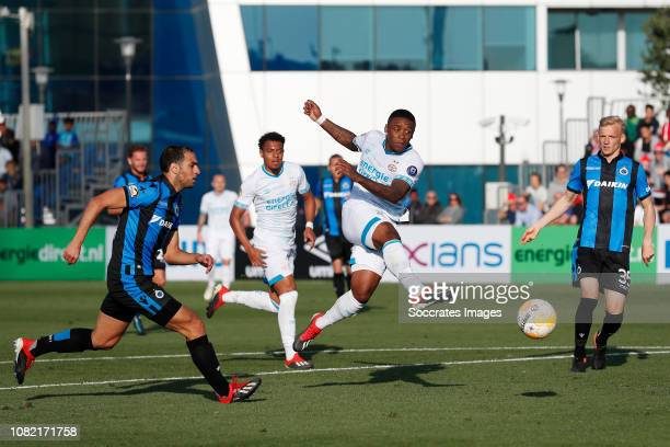 Sofyan Amrabat of Club Brugge Steven Bergwijn of PSV during the Club Friendly match between PSV v Club Brugge on January 11 2019 in Doha Qatar