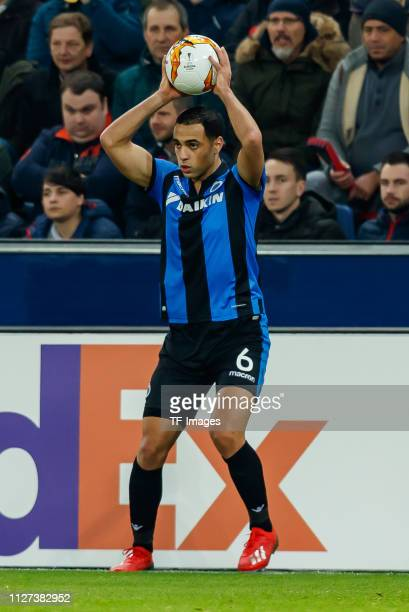 Sofyan Amrabat of Club Brugge throwin during the UEFA Europa League Round of 32 Second Leg match between RB Salzburg and Club Brugge at Red Bull...