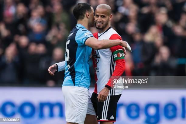 Sofyan Amrabat of FC Utrecht Karim El Ahmadi of Feyenoordduring the Dutch Eredivisie match between Feyenoord Rotterdam and FC Utrecht at the Kuip on...