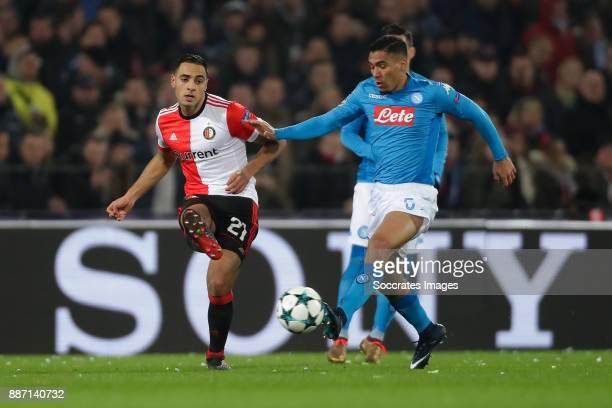 Sofyan Amrabat of Feyenoord Allan of Napoli during the UEFA Champions League match between Feyenoord v Napoli at the Feyenoord Stadium on December 6...