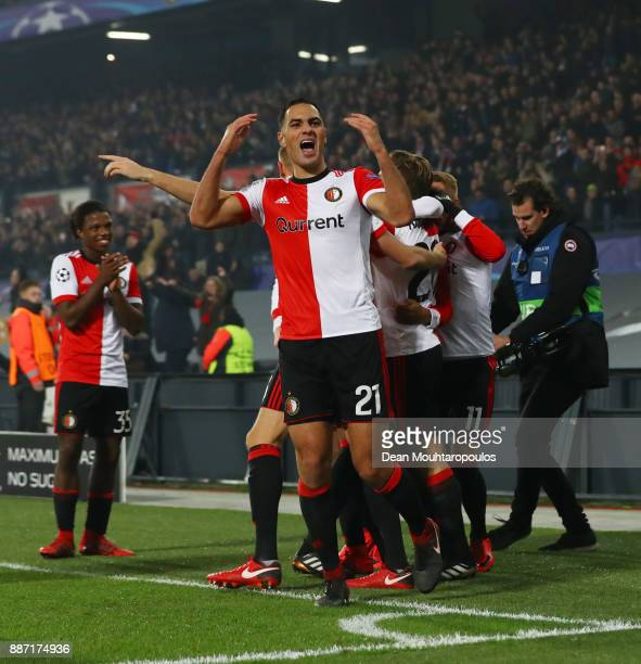 Sofyan Amrabat of Feyenoord celebrates his sides second goal during the UEFA Champions League group F match between Feyenoord and SSC Napoli at...