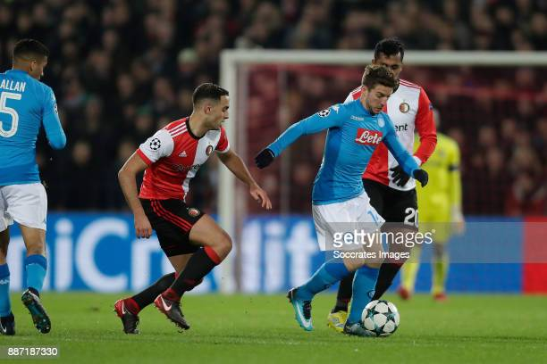Sofyan Amrabat of Feyenoord Dries Mertens of Napoli Renato Tapia of Feyenoord during the UEFA Champions League match between Feyenoord v Napoli at...