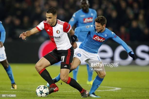 Sofyan Amrabat of Feyenoord Dries Mertens of SSC Napoli during the UEFA Champions League group F match between Feyenoord Rotterdam and SSC Napoli at...