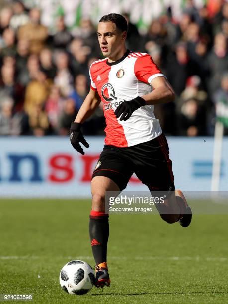 Sofyan Amrabat of Feyenoord during the Dutch Eredivisie match between Feyenoord v PSV at the Stadium Feijenoord on February 25 2018 in Rotterdam...