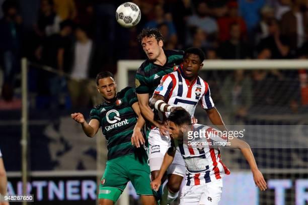 Sofyan Amrabat of Feyenoord Eric Botteghin of Feyenoord Bartholomew Ogbeche of Willem II Ismail Azzaoui of Willem II during the Dutch Eredivisie...