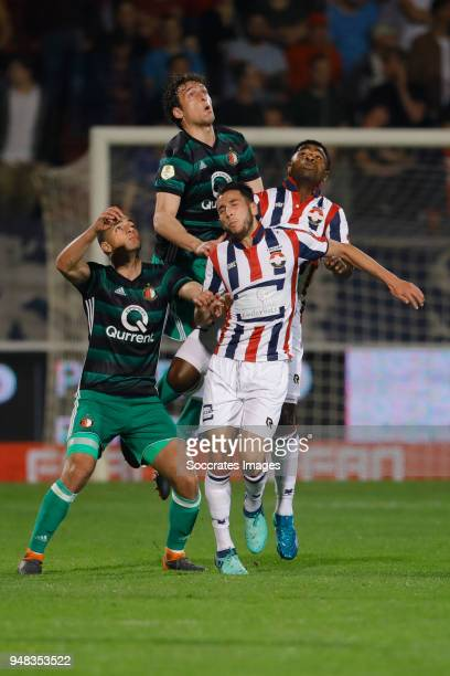 Sofyan Amrabat of Feyenoord Eric Botteghin of Feyenoord Ismail Azzaoui of Willem II Bartholomew Ogbeche of Willem II during the Dutch Eredivisie...