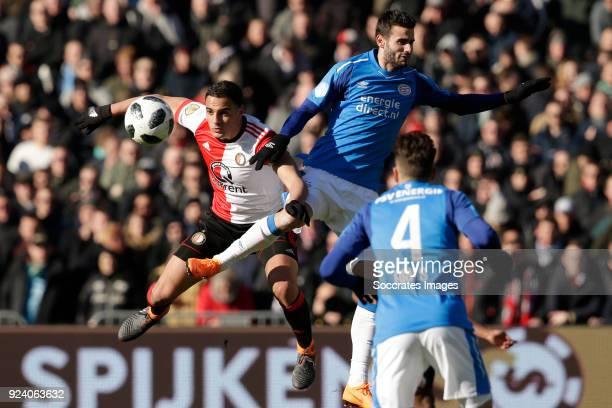 Sofyan Amrabat of Feyenoord Gaston Pereiro of PSV during the Dutch Eredivisie match between Feyenoord v PSV at the Stadium Feijenoord on February 25...