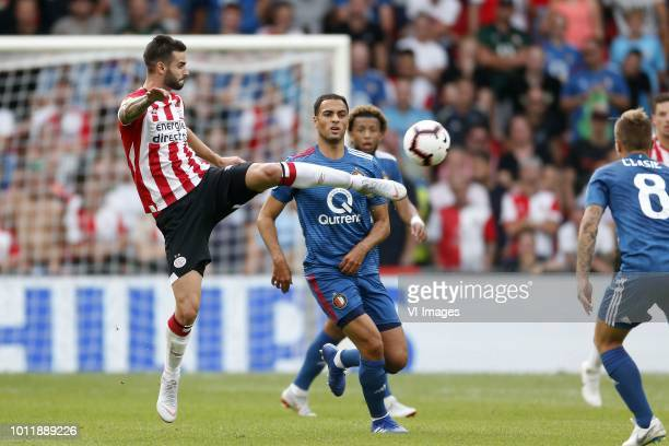 Sofyan Amrabat of Feyenoord Gaston Pereiro of PSV during the Johan Cruijff Shield match between between PSV Eindhoven and Feyenoord Rotterdam at the...