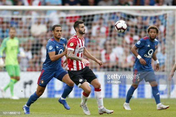 Sofyan Amrabat of Feyenoord Gaston Pereiro of PSV Tonny Vilhena of Feyenoord during the Johan Cruijff Shield match between between PSV Eindhoven and...