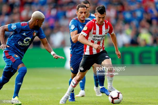 Sofyan Amrabat of Feyenoord Hirving Lozano of PSV during the Dutch Johan Cruijff Schaal match between PSV v Feyenoord at the Philips Stadium on...
