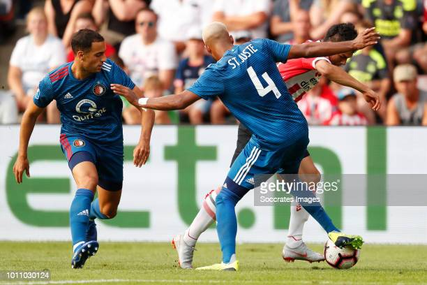 Sofyan Amrabat of Feyenoord Hirving Lozano of PSV Jeremiah St Juste of Feyenoord during the Dutch Johan Cruijff Schaal match between PSV v Feyenoord...
