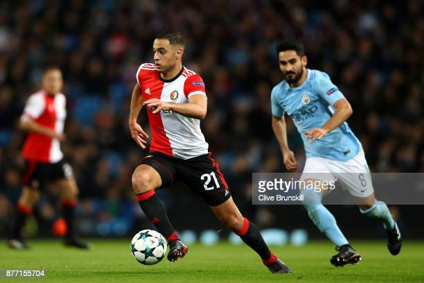Sofyan Amrabat of Feyenoord in action during the UEFA Champions League group F match between Manchester City and Feyenoord at Etihad Stadium on...