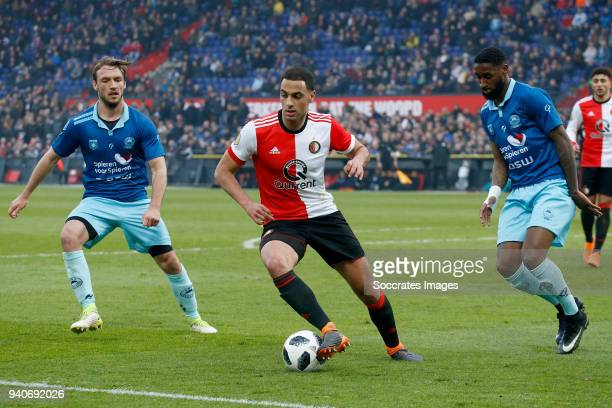 Sofyan Amrabat of Feyenoord Jeffry Fortes of Excelsior during the Dutch Eredivisie match between Feyenoord v Excelsior at the Stadium Feijenoord on...