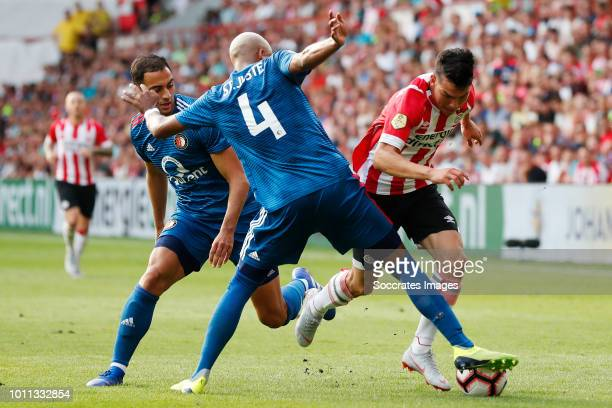 Sofyan Amrabat of Feyenoord Jeremiah St Juste of Feyenoord Hirving Lozano of PSV during the Dutch Johan Cruijff Schaal match between PSV v Feyenoord...