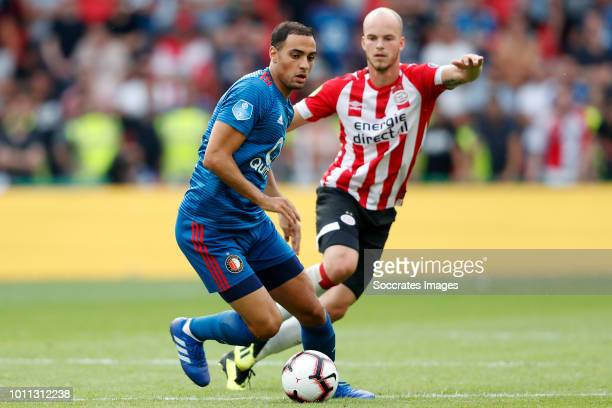 Sofyan Amrabat of Feyenoord Jorrit Hendrix of PSV during the Dutch Johan Cruijff Schaal match between PSV v Feyenoord at the Philips Stadium on...