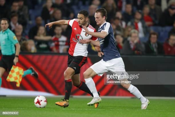 Sofyan Amrabat of Feyenoord Mathieu Christianen of AVV Swift during the UEFA Champions League match between Feyenoord v Shakhtar Donetsk at the...