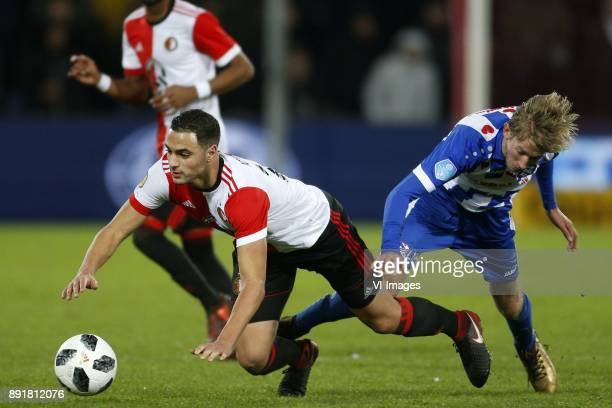 Sofyan Amrabat of Feyenoord Michel Vlap of SC Heerenveen during the Dutch Eredivisie match between Feyenoord Rotterdam and sc Heerenveen at the Kuip...