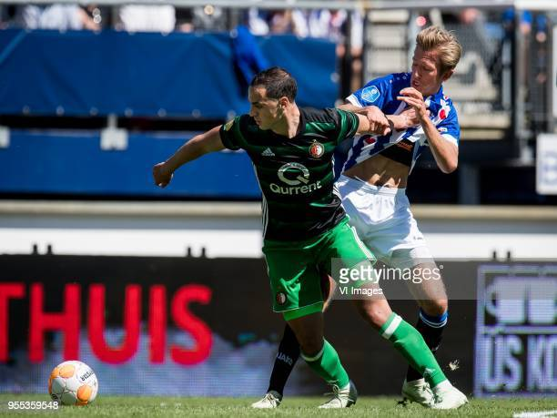 Sofyan Amrabat of Feyenoord Michel Vlap of sc Heerenveen during the Dutch Eredivisie match between sc Heerenveen and Feyenoord Rotterdam at Abe...