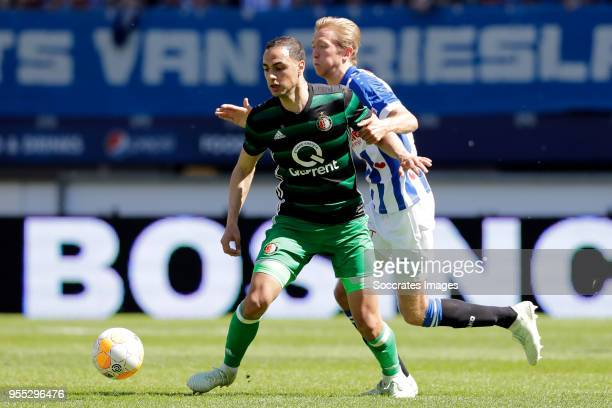Sofyan Amrabat of Feyenoord Morten Thorsby of SC Heerenveen during the Dutch Eredivisie match between SC Heerenveen v Feyenoord at the Abe Lenstra...