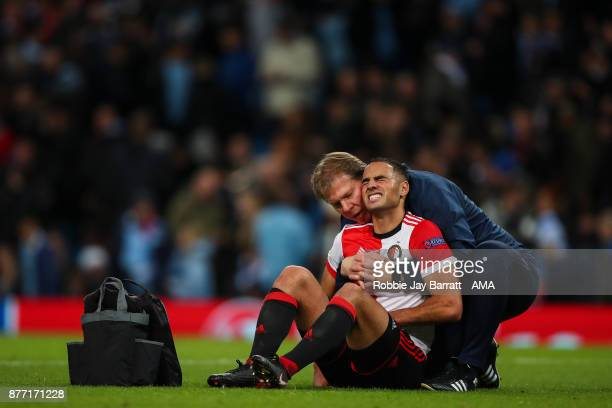 Sofyan Amrabat of Feyenoord receives treatment at half time during the UEFA Champions League group F match between Manchester City and Feyenoord at...