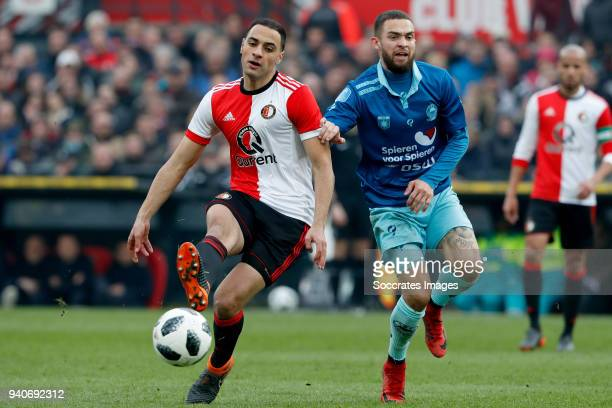 Sofyan Amrabat of Feyenoord Stanley Elbers of Excelsior during the Dutch Eredivisie match between Feyenoord v Excelsior at the Stadium Feijenoord on...