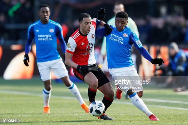 Sofyan Amrabat of Feyenoord Steven Bergwijn of PSV during the Dutch Eredivisie match between Feyenoord v PSV at the Stadium Feijenoord on February 25...
