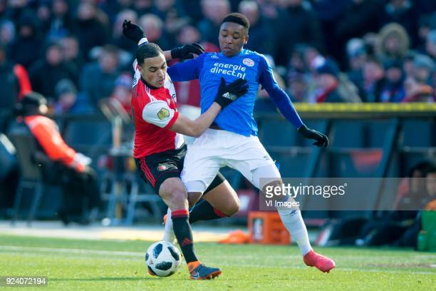 Sofyan Amrabat of Feyenoord Steven Bergwijn of PSV during the Dutch Eredivisie match between Feyenoord Rotterdam and PSV Eindhoven at the Kuip on...