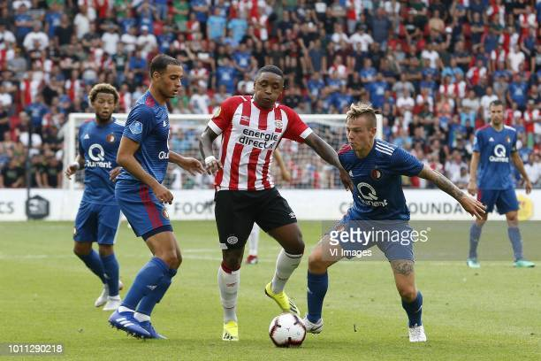 Sofyan Amrabat of Feyenoord Steven Bergwijn of PSV Jordy Clasie of Feyenoord during the Johan Cruijff Shield match between between PSV Eindhoven and...