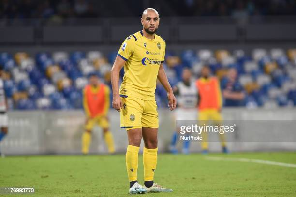 Sofyan Amrabat of Hellas Verona during the Serie A TIM match between SSC Napoli and Hellas Verona at Stadio San Paolo Naples Italy on 19 October 2019