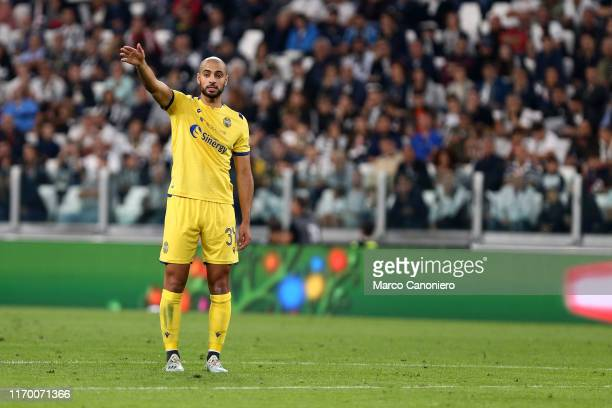 Sofyan Amrabat of Hellas Verona Fc gestures during the Serie A match between Juventus Fc and Hellas Verona Fc Juventus Fc wins 21 over Hellas Verona