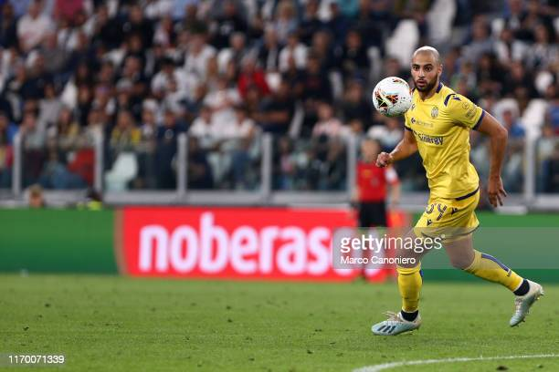 Sofyan Amrabat of Hellas Verona Fc in action during the Serie A match between Juventus Fc and Hellas Verona Fc Juventus Fc wins 21 over Hellas Verona