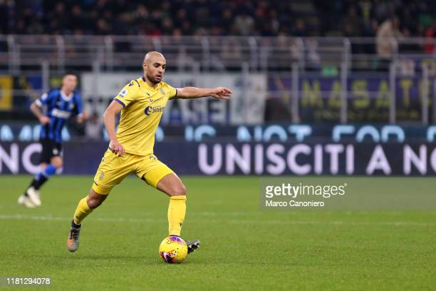 Sofyan Amrabat of Hellas Verona Fc in action during the Serie A match between Internazionale Fc and Hellas Verona Fc Fc Internazionale wins 21 over...