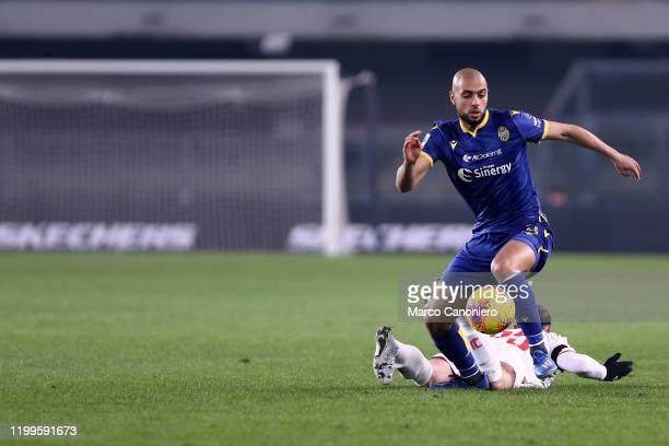 Sofyan Amrabat of Hellas Verona Fc in action during the Serie A match between Hellas Verona Fc and Juventus Fc Hellas Verona Fc wins 21 over Juventus...