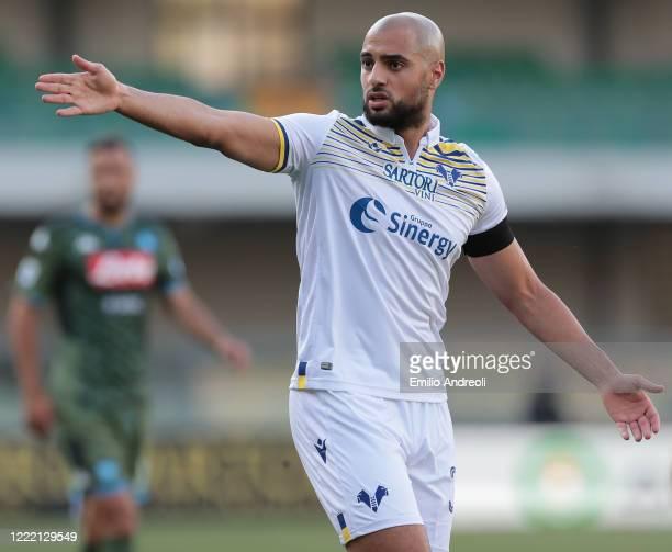 Sofyan Amrabat of Hellas Verona gestures during the Serie A match between Hellas Verona and SSC Napoli at Stadio Marcantonio Bentegodi on June 23...