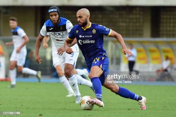 Sofyan Amrabat of Hellas Verona in acction during the Serie A match between Hellas Verona and Atalanta BC at Stadio Marcantonio Bentegodi on July 18...