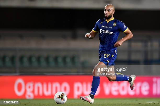 Sofyan Amrabat of Hellas Verona in action during the Serie A football match between Hellas Verona and FC Internazionale The match ended in a 22 tie