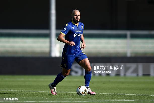 Sofyan Amrabat of Hellas Verona in action during the Serie A football match between Hellas Verona and Atalanta BC The match ended in a 11 tie