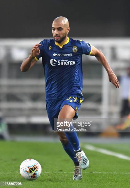 Sofyan Amrabat of Hellas Verona in action during the Serie A match between Hellas Verona and UC Sampdoria at Stadio Marcantonio Bentegodi on October...