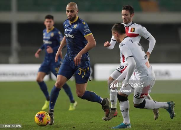 Sofyan Amrabat of Hellas Verona in action during the Serie A match between Hellas Verona and Genoa CFC at Stadio Marcantonio Bentegodi on January 12...