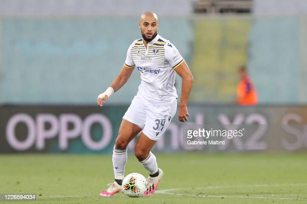 Sofyan Amrabat of Hellas Verona in action during the Serie A match between ACF Fiorentina and Hellas Verona at Stadio Artemio Franchi on July 12 2020...