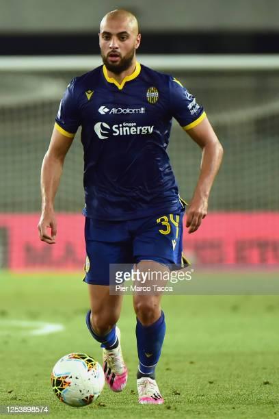 Sofyan Amrabat of Hellas Verona in action during the Serie A match between Hellas Verona and Parma Calcio at Stadio Marcantonio Bentegodi on July 1...