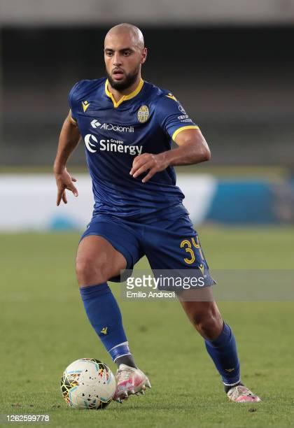 Sofyan Amrabat of Hellas Verona in action during the Serie A match between Hellas Verona and SPAL at Stadio Marcantonio Bentegodi on July 29 2020 in...