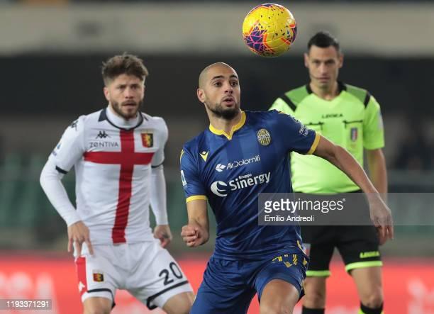 Sofyan Amrabat of Hellas Verona looks the ball during the Serie A match between Hellas Verona and Genoa CFC at Stadio Marcantonio Bentegodi on...