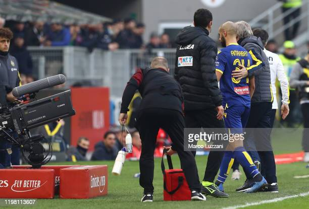 Sofyan Amrabat of Hellas Verona walks off after getting a red card during the Serie A match between AC Milan and Hellas Verona at Stadio Giuseppe...