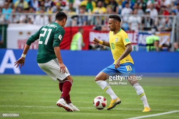 Sofyan Amrabat of Morocco and Neymar da Silva Santos Jr of Brazil during the game between Brazil and Mexico valid for the octaves of finals of the...
